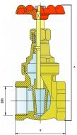 GA20 Bronze Gate Valve Dimension Diagram