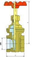 GA25 Bronze Gate Valve Dimension Diagram