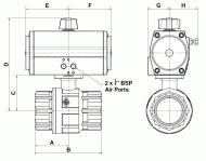 Pneumatic Brass Ball Valve Dimension Diagram
