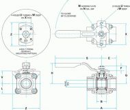 AW44 Carbon Steel Ball Valve Dimension Diagram
