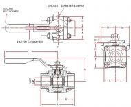 A44 Stainless Steel Ball Valve Dimension Diagram