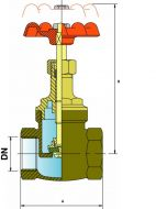 GL32 Bronze globe valve Dimension Diagram