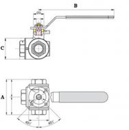 BBV28-29 L and T Ball Valves Dimension Diagram
