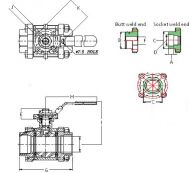 SV36N 3 Piece ISO Mount Valve Dimension Diagram