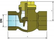 CH32 Bronze Lift Check Valve Dimension Diagram