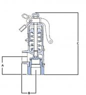 High Lift Bronze Safety Relief Valve Dimension Diagram