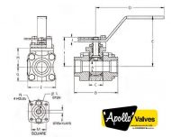 83B 3 Piece Carbon Steel Valve Dimension Diagram