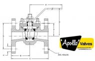 Top Entry Flanged ANSI150  Class Ball Valve Dimension Diagram