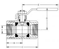 70-100 Bronze 2 Piece  Ball Valve Dimension Diagram