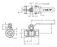 76-100 2 piece ball valve Dimension Diagram